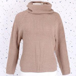 Sweaters - Raglan Long Sleeve Turtle Neck Knit Sweater Khaki
